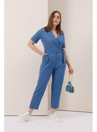 Gusto Ceket Yakalı Tulum - Mavi Ceket Yakalı Tulum - Mavi Mavi